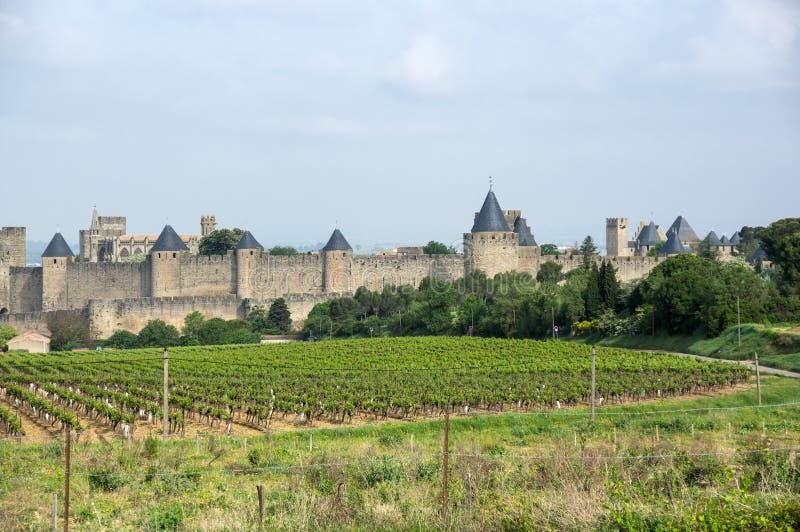 Murs de château et de ville de Carcassonne photo libre de droits