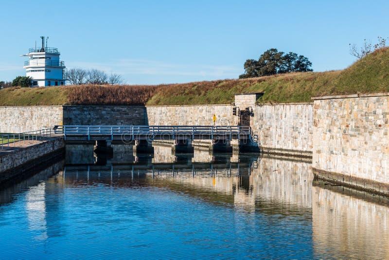 Murs de forteresse de Fort Monroe à Hampton, la Virginie images libres de droits
