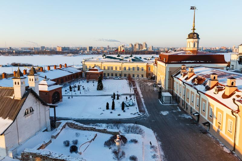 Murs de Kazan Kremlin photos stock