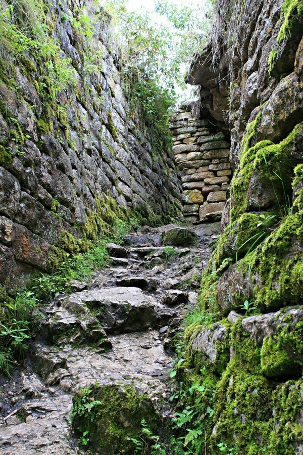 Murs de ruine de Kuelap images stock