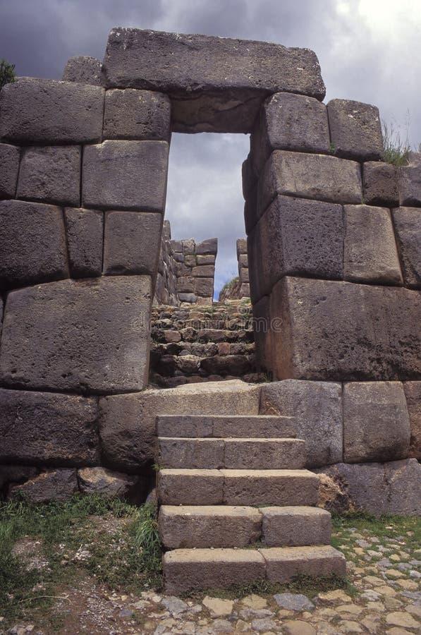 Murs de Sacsayhuaman, ruines antiques d'Inca, Pérou. images libres de droits