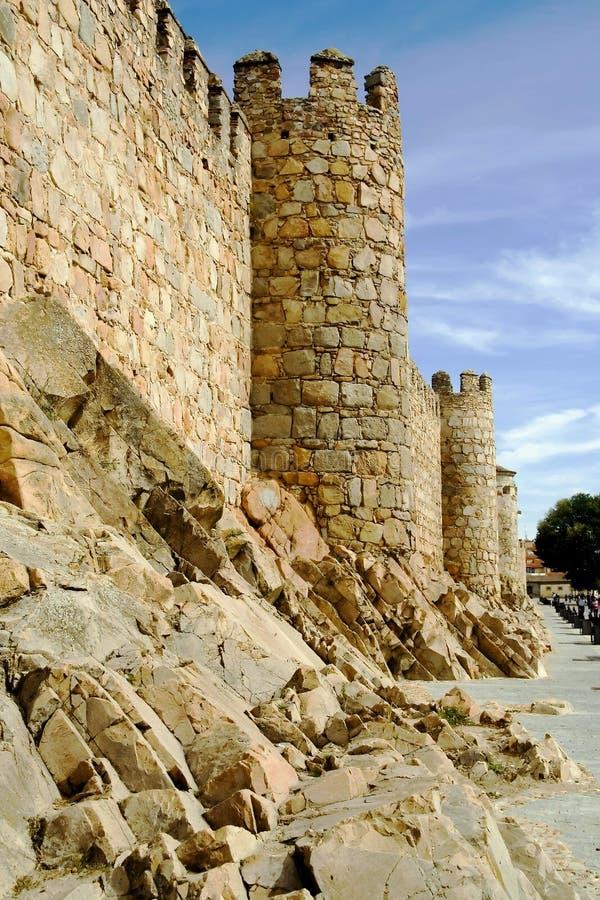 Murs de ville, Ãvila Espagne images libres de droits