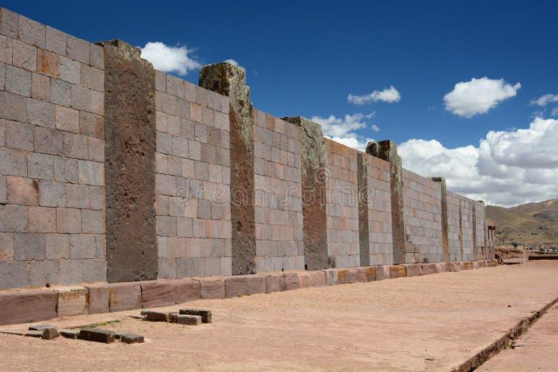murs Site archéologique de Tiwanaku bolivia images libres de droits