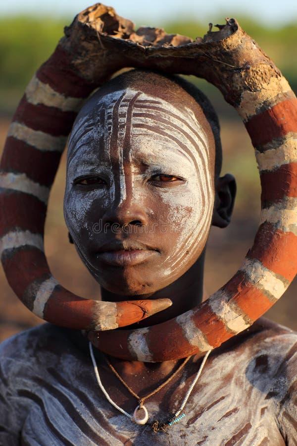 Mursi妇女在南Omo,埃塞俄比亚 库存照片