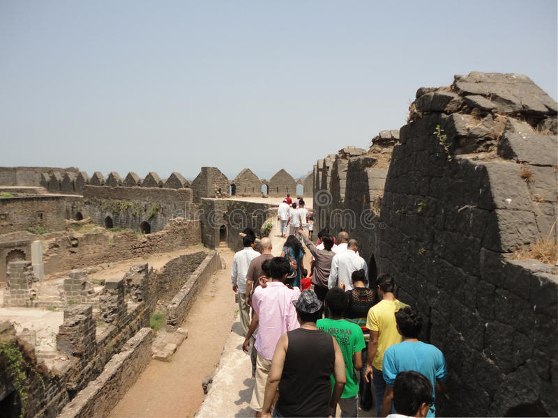 Murud Janjira fort, Alibag India. Murud-Janjira / India - April 04, 2017 - A group of people visited Murud Janjira Fort built on the ocean at Alibag royalty free stock images