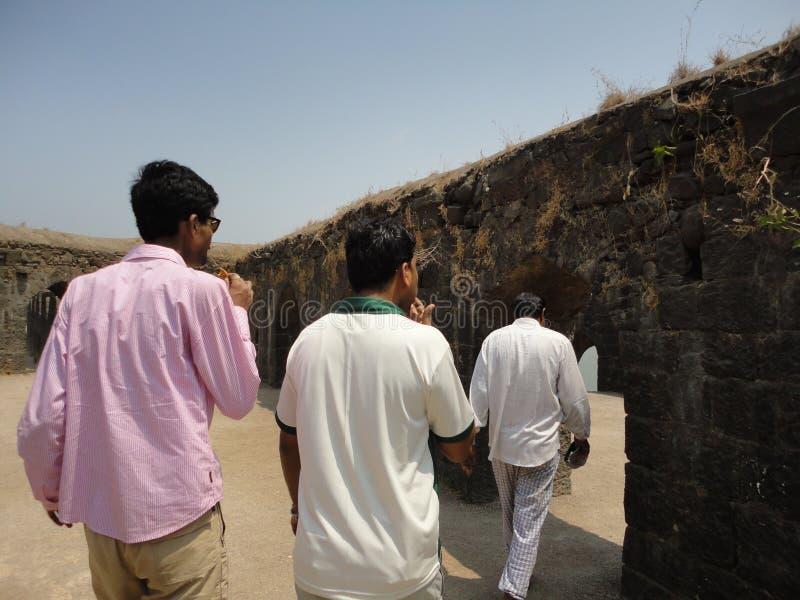 Murud Janjira fort, Alibag India. Murud-Janjira / India - April 04, 2017 - A group of people visited Murud Janjira Fort built on the ocean at Alibag royalty free stock photo