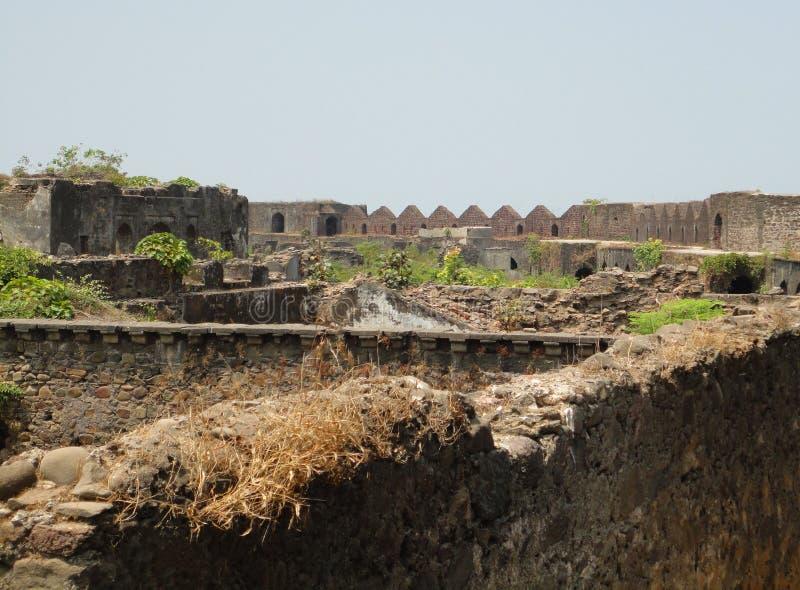 Murud Janjira fort at Alibag, India. Fort built in the ocean at Alibag, India royalty free stock photos