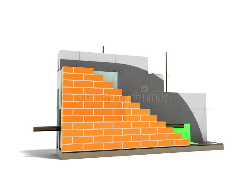 Murverket för begreppsväggkonstruktion med termisk isolering 3D framför mot vit bakgrund vektor illustrationer