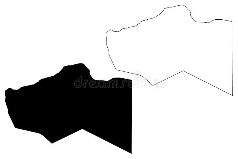Murzuq District Districts of Libya, State of Libya, Fezzan map vector illustration, scribble sketch Murzuq map.  vector illustration