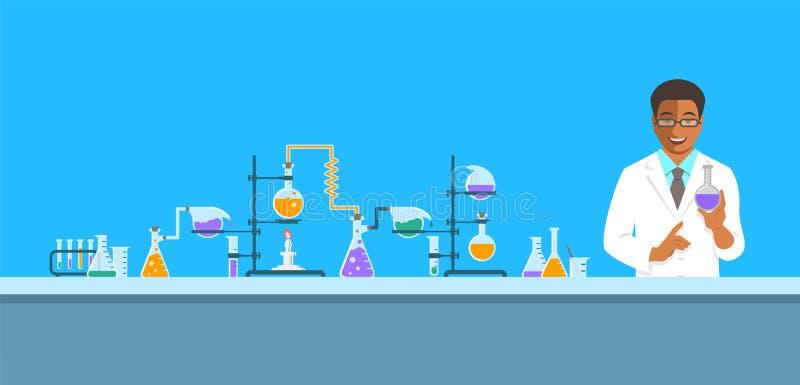 Murzyna chemik w chemicznym laboratorium royalty ilustracja