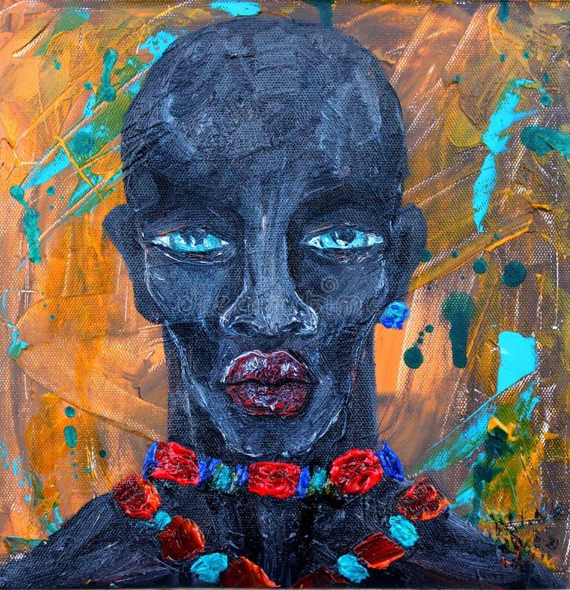 Murzyna portret przy abstrakcjonistycznym grunge tłem royalty ilustracja
