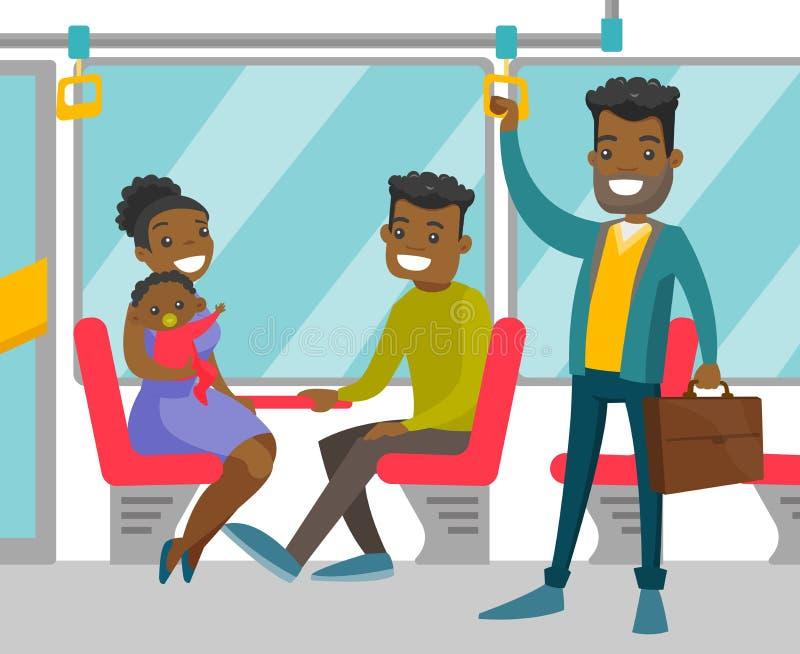 Murzyni podróżuje transportem publicznym ilustracji