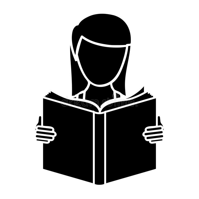 murzynka czytać książkową ikonę ilustracji