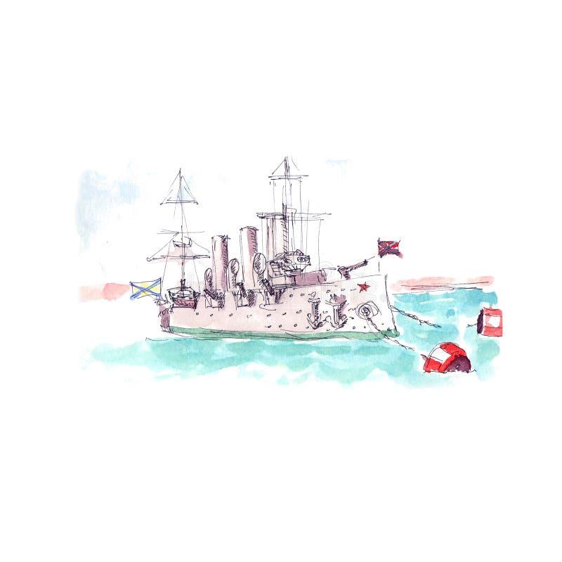 Navire De Guerre De Croquis Dessin De Bateau De Militaires Illustration De Vecteur Illustration De Vecteur Illustration Du Navire Bateau 108516071