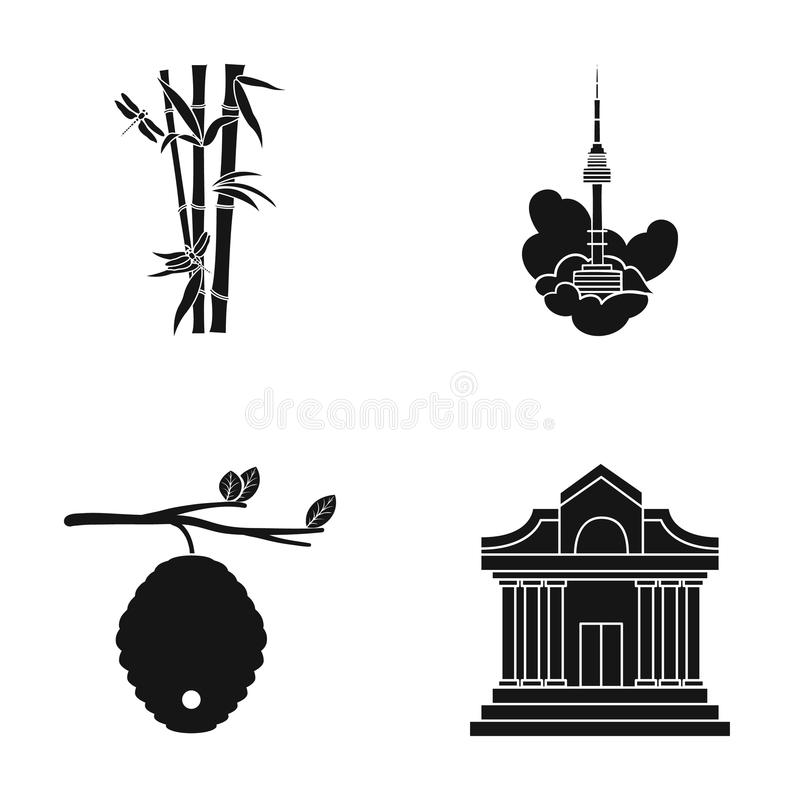 Musée, apiculture, tourisme et toute autre icône de Web dans le style noir théâtres, colonnes, architecture, icônes dans la colle illustration stock