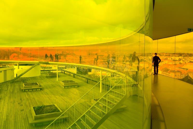 Musée d'Art d'ArOS - panorama d'arc-en-ciel photo stock