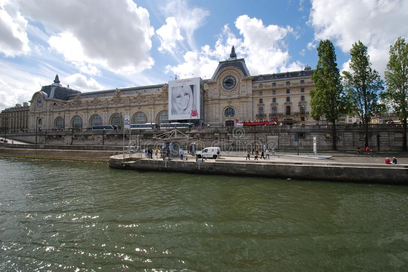 Musée d`Orsay, waterway, water, river, canal. Musée d'Orsay is waterway, canal and building. That marvel has water, sky and tree and that beauty contains royalty free stock photos