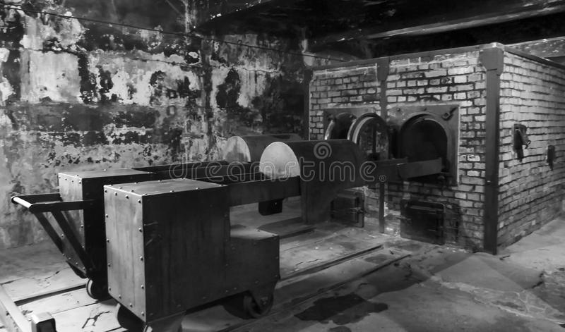 Musée de camp de concentration d'Auschwitz - chambres à gaz 7 juillet 2015 photographie stock