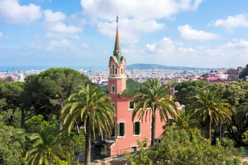 Musée de Chambre de Gaudi en parc de Guell, Barcelone, Espagne photographie stock