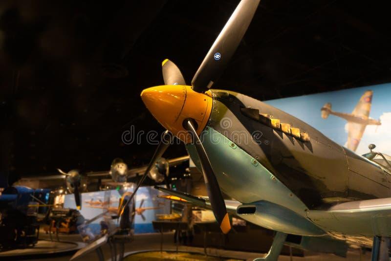 Musée de Jet World War II d'appui vertical de la tête brûlée Mk IX de Supermarine images stock