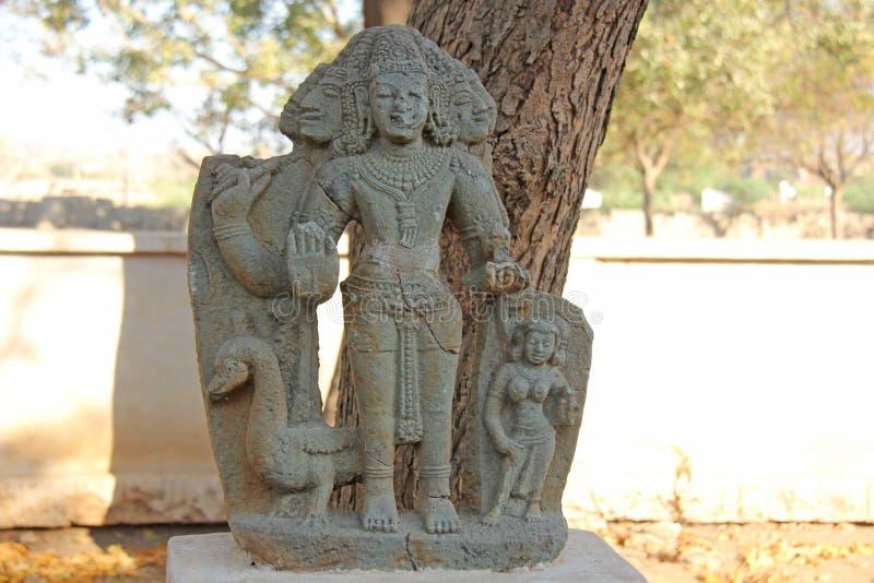 Musée de pierre de Brahma en plein air dans Hampi, Inde Sculp en pierre images stock