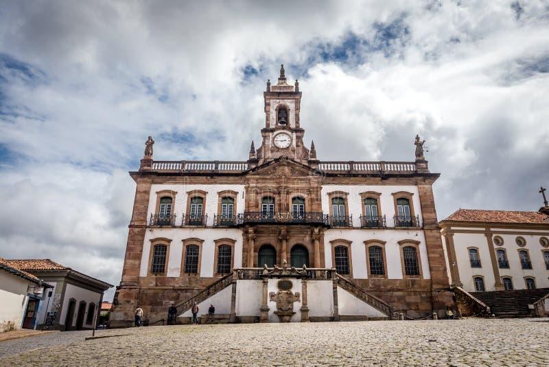 Musée de trahison de place de Tiradentes dans Ouro Preto, Brésil photographie stock