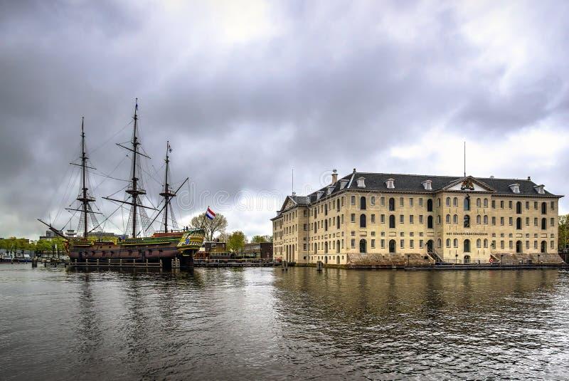 Musée maritime national à Amsterdam, Pays-Bas images libres de droits