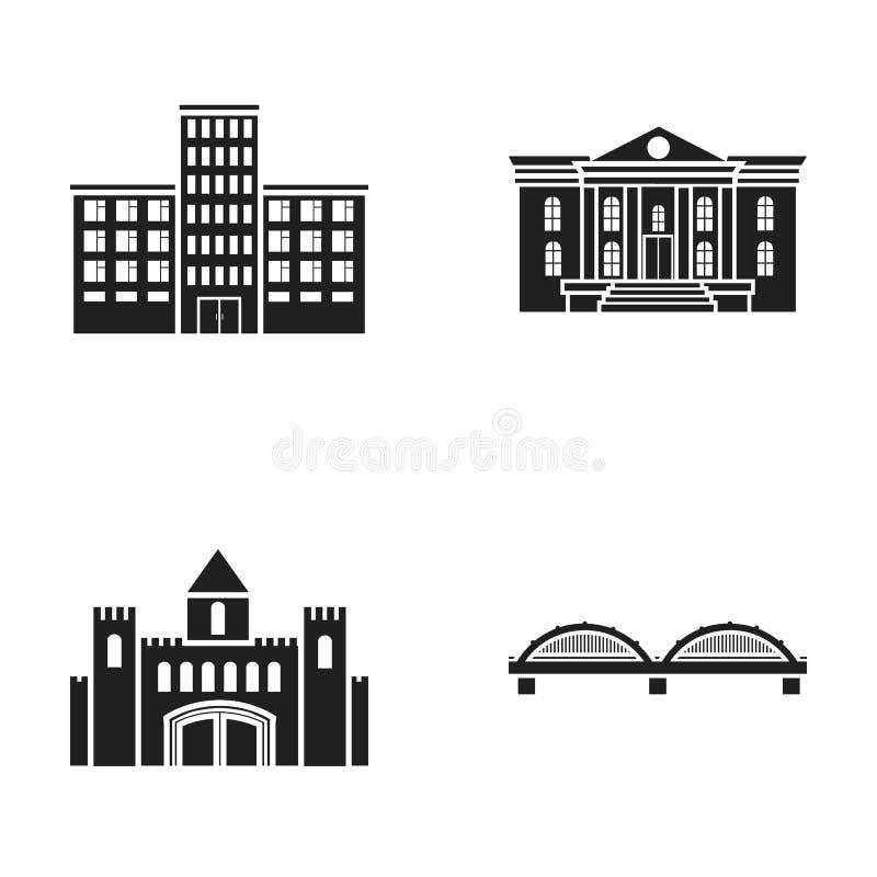 Musée, pont, château, hôpital Les icônes réglées de construction de collection dans le style noir dirigent le Web courant d'illus illustration libre de droits
