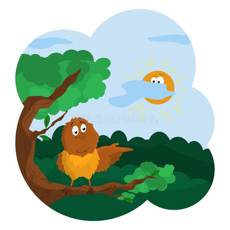Mus die de richting richten Zonnige dag in de bosbeeldverhaalgrafiek stock illustratie
