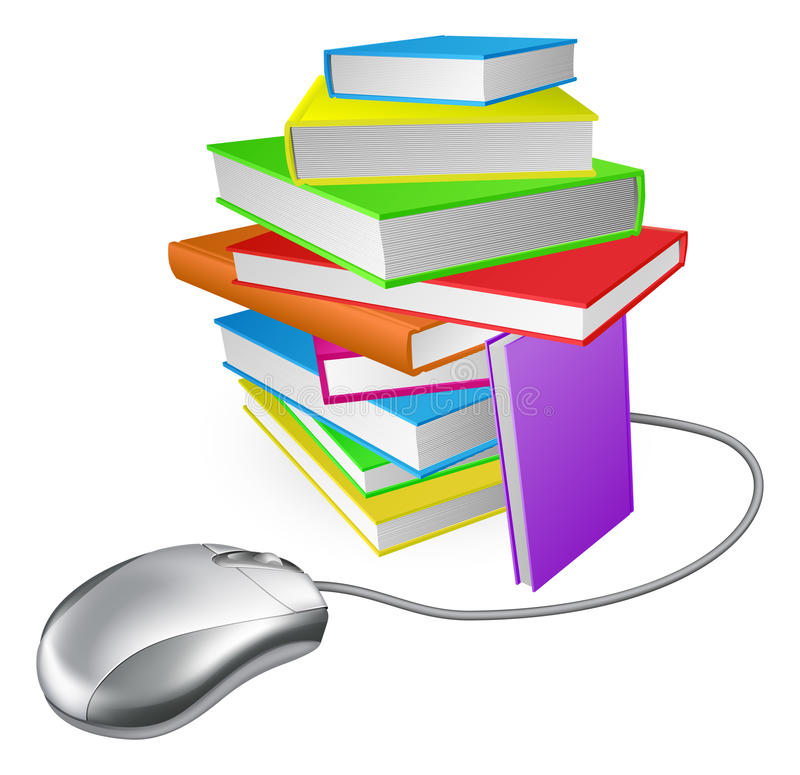 Mus för dator för bokbunt stock illustrationer