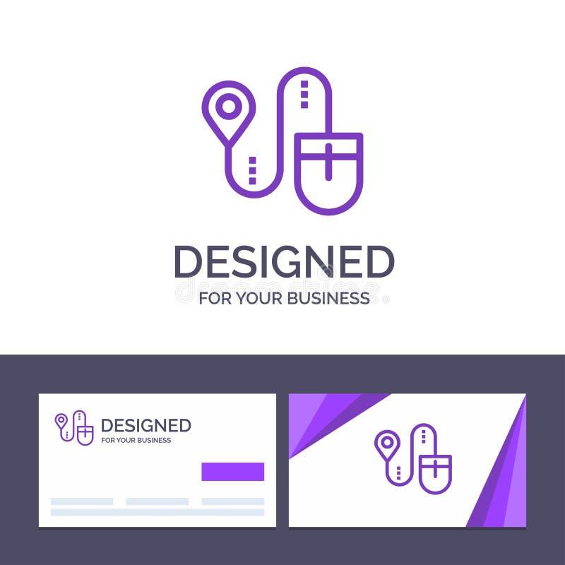 Mus för idérik mall för affärskort och logo, läge, sökande, datorvektorillustration stock illustrationer
