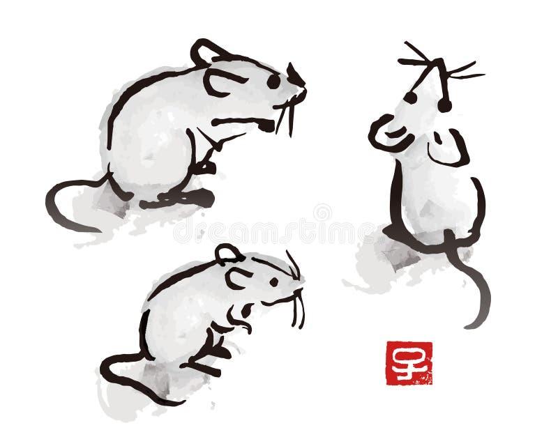 Mus för tuschborstemålning och att tjalla illustrationen vektor illustrationer