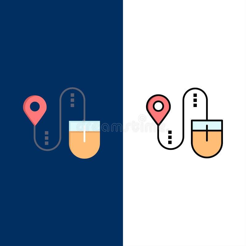Mus läge, sökande, datorsymboler Lägenheten och linjen fylld symbol ställde in blå bakgrund för vektorn royaltyfri illustrationer