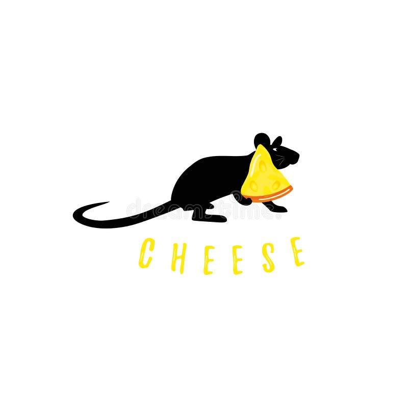 Mus med stycket av den svarta konturn för ost på vit bakgrund Med text vektor illustrationer
