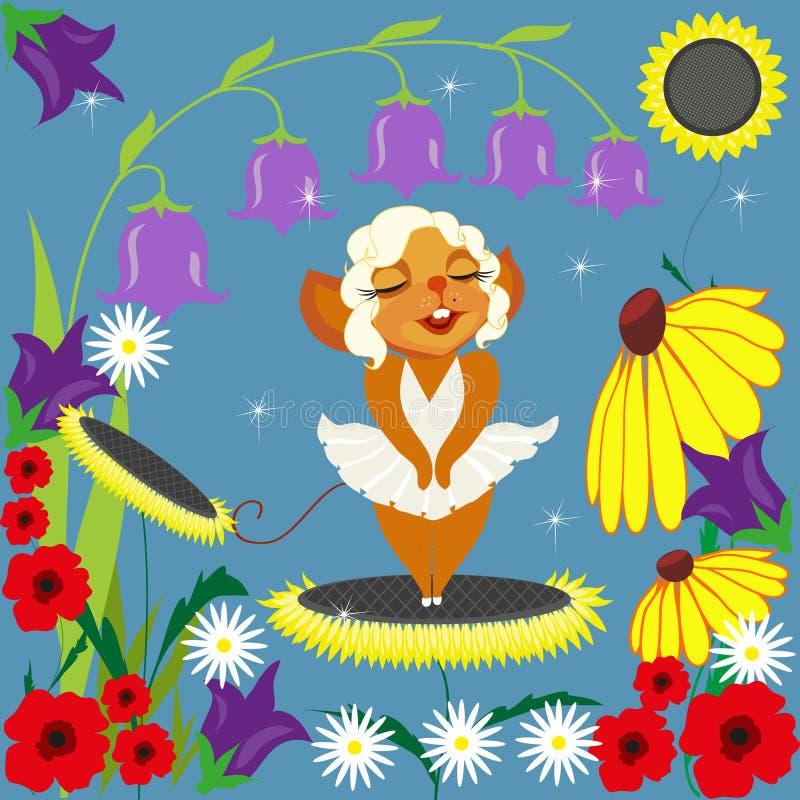 Mus Merlin och blommor vektor illustrationer