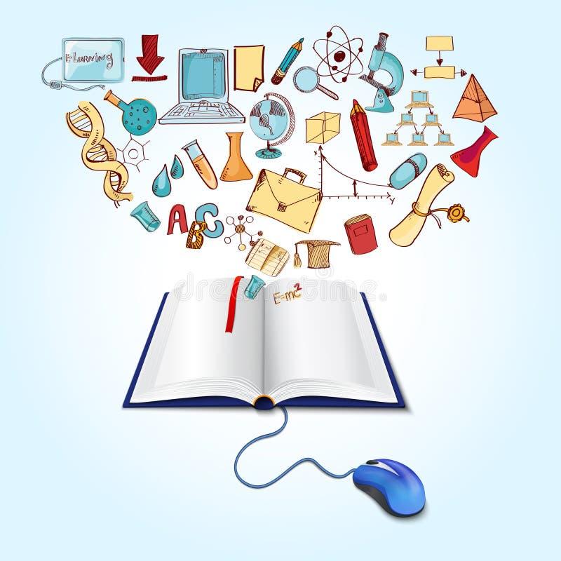 mus och bok stock illustrationer