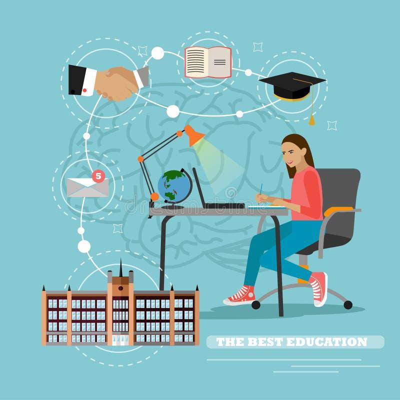 mus och bok Vektorillustration i plan stil Kvinnlig student som studerar på internet och lär handstil stock illustrationer