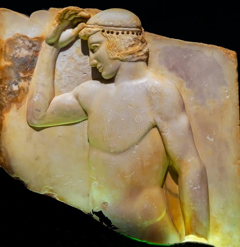 Musa archeologica nazionale della statua greca ateniese antica della gioventù immagine stock libera da diritti