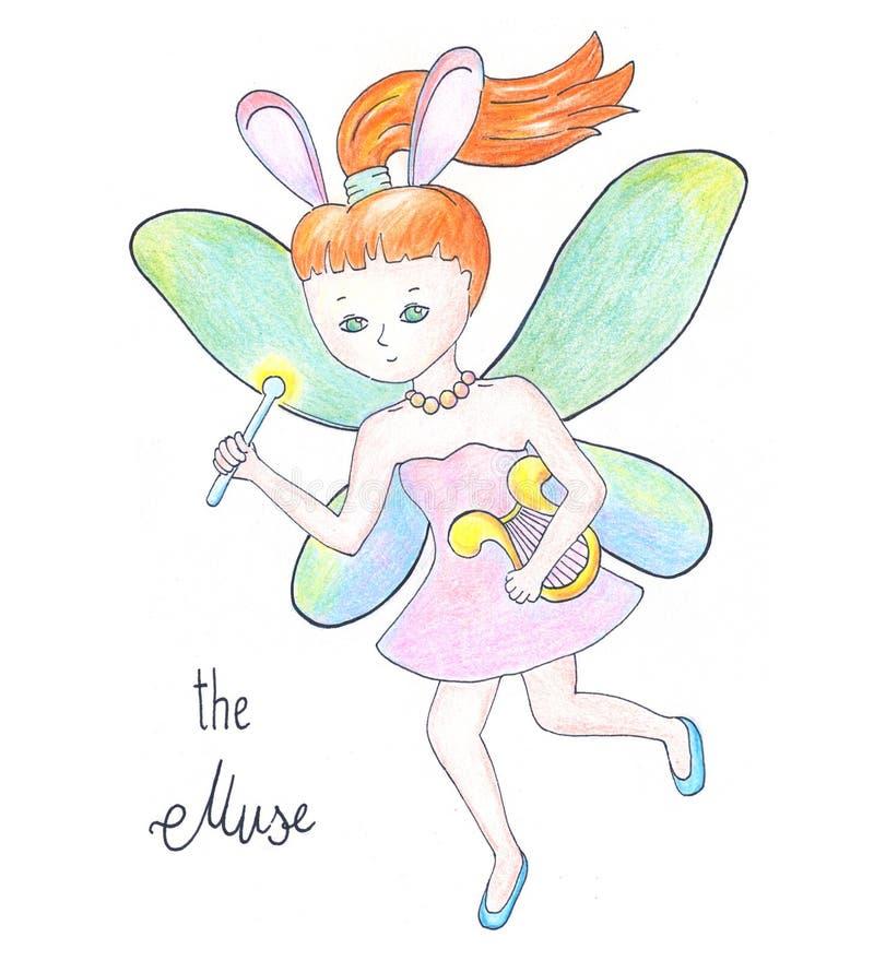 Musa leggiadramente con le ali su fondo bianco Illustrazione disegnata a mano volante della ragazza rossa dei capelli illustrazione di stock
