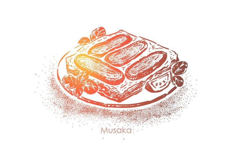 Musaka griego, plato acodado, berenjenas con aceite de oliva, cordero y tomates con la salsa del bechamel stock de ilustración