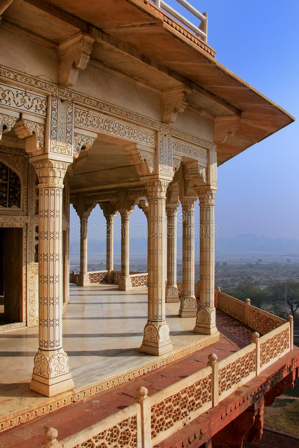 Musamman Burj in Agra Fort, Uttar Pradesh, India. The fort was built primarily as a military structure, but was later upgraded to a palace royalty free stock photo