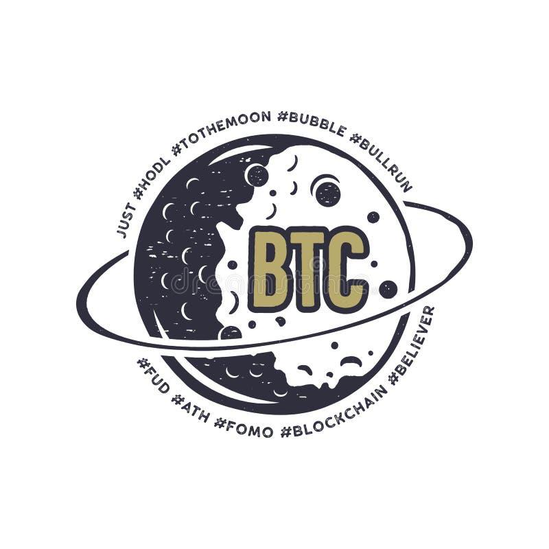 Musardez l'emblème de Bitcoin avec les hashtags drôles en orbite - bulle, blockchain, hodl et d'autres Crypto cadeau de T-shirt p illustration stock