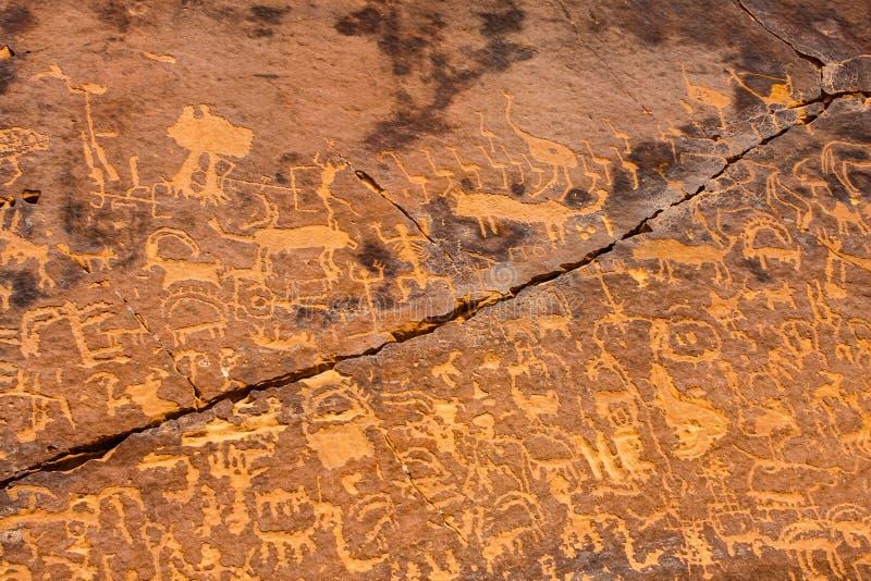 Musayqirah Petroglyphs, Riyadh Province, Saudi Arabia. Neolithic rock carvings in the desert some 200 km west of Riyadh royalty free stock images