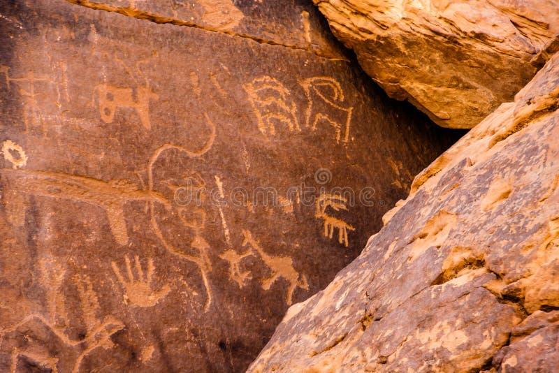 Musayqirah Petroglyphs, Riyadh Province, Saudi Arabia. Neolithic rock carvings in the desert some 200 km west of Riyadh royalty free stock photography