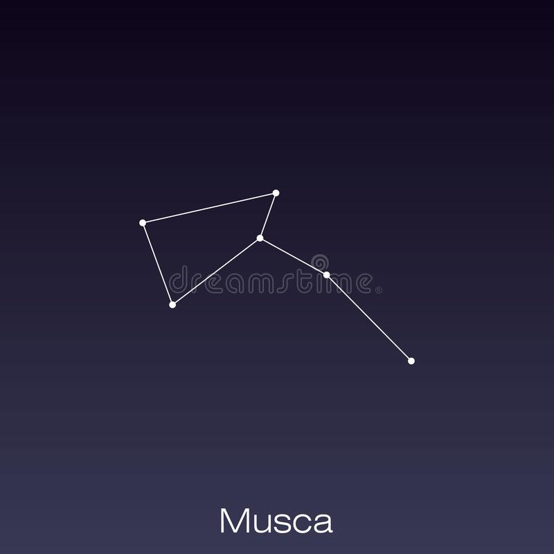 Constellation as it can be seen by the naked eye. Musca constellation as it can be seen by the naked eye royalty free illustration