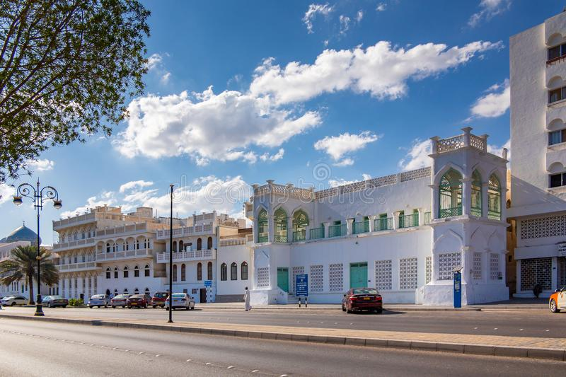 Muscat, Ομάν - 17 Δεκεμβρίου 2018: οδός πόλεων, παραδοσιακή αρχιτεκτονική στοκ εικόνες με δικαίωμα ελεύθερης χρήσης