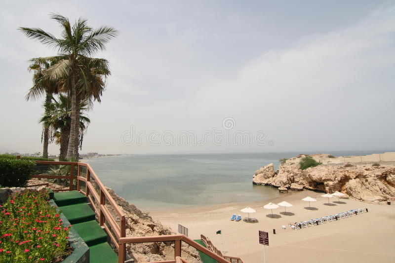 Muscat beach in Oman. Scenic view of picturesque beach and sea in Muscat, Oman stock photo