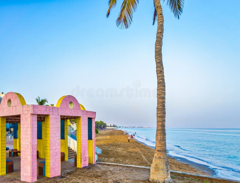 Beach Shelter & a Coconut Tree. Pink & Yellow Shelter and a Coconut Tree on the Beach. From Muscat, Oman stock photography