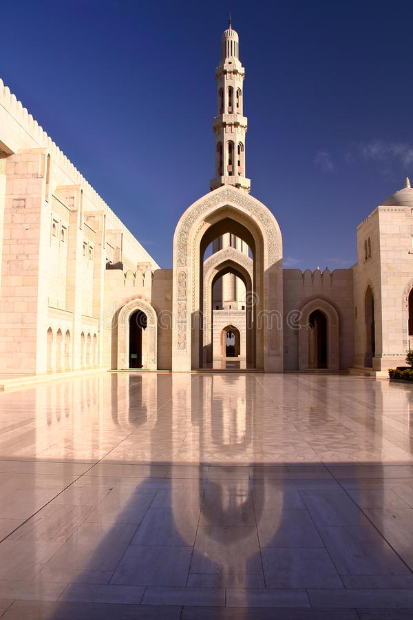 MUSCAT, OMAN: The main entrance of Sultan Qaboos Grand Mosque. The main entrance of Sultan Qaboos Grand Mosque stock images