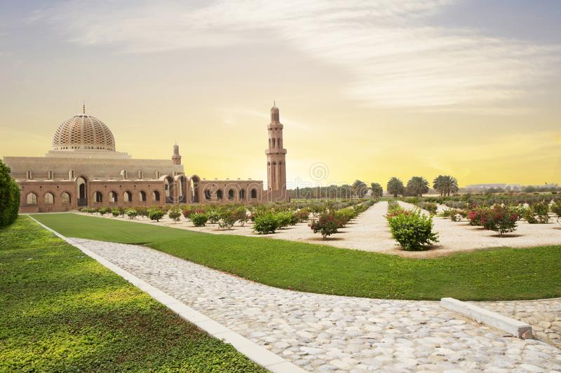 Muscat, Oman, Sultan Qaboos Grand mosque. Sultan Qaboos mosque or Muscat Cathedral mosque is the main operating mosque of Muscat, Oman royalty free stock photography